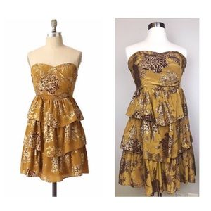 Anthro Strapless Moulinette Soeurs Gold Dress